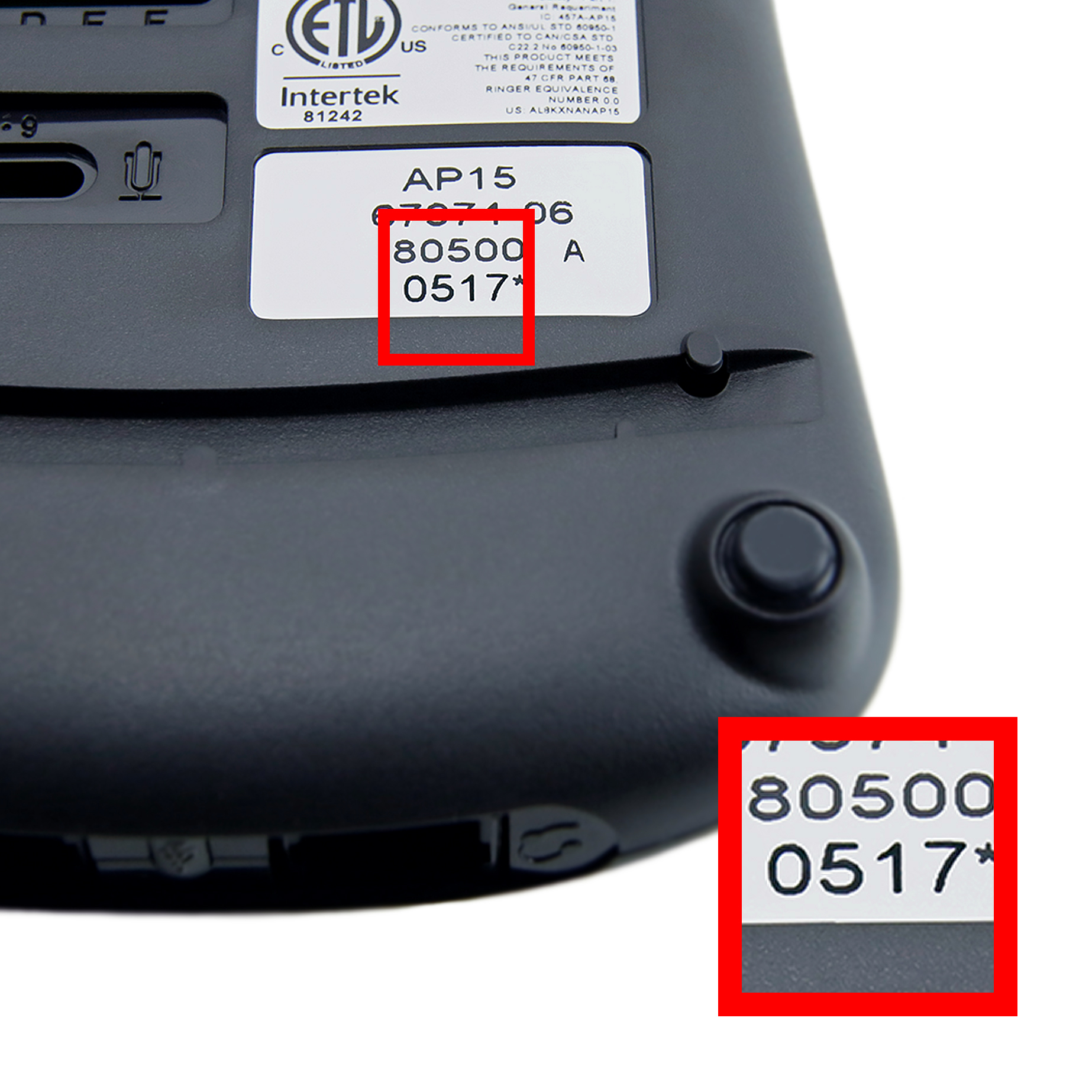 Image of the AP15 Date Code location