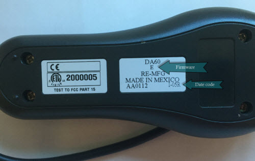 Image of the DA60 date code location
