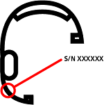 Image of the serial number location on the microphone boom.