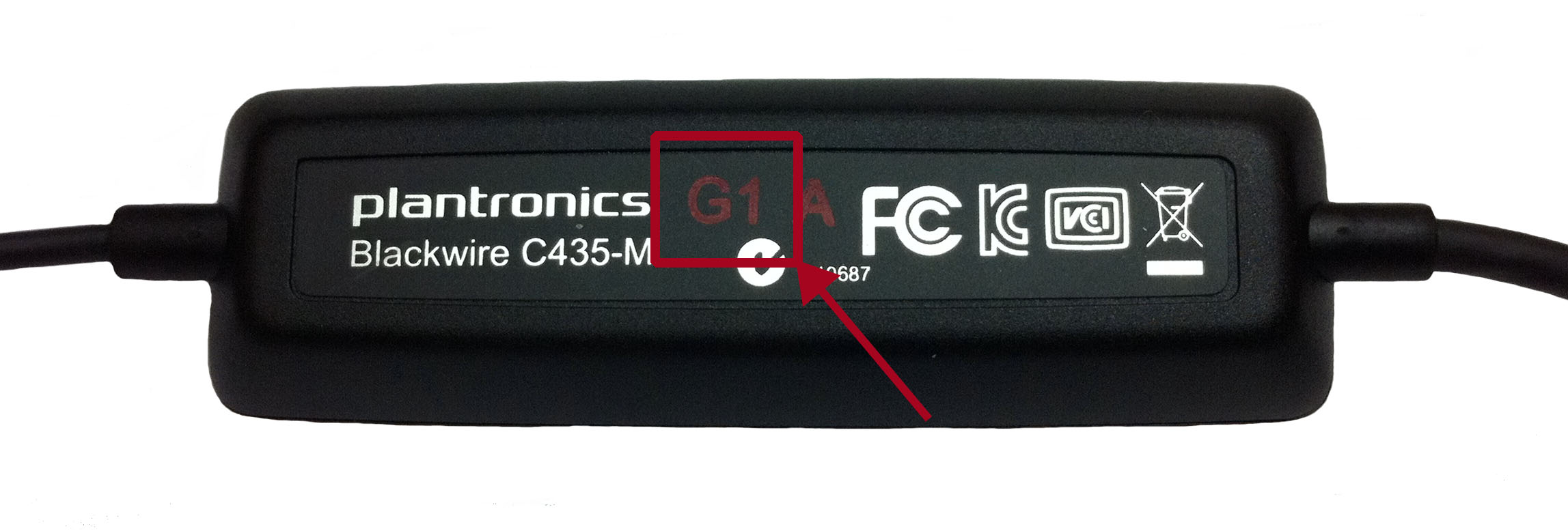 Image of the Blackwire C435 Date Code Location