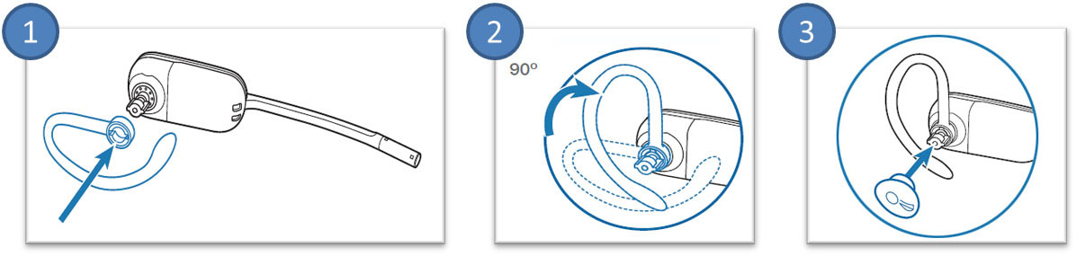 Image of how to wear the CS540 on your left ear