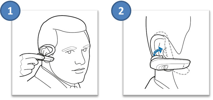 Image of how to securely fit your Explorer 300 series headset on your ear