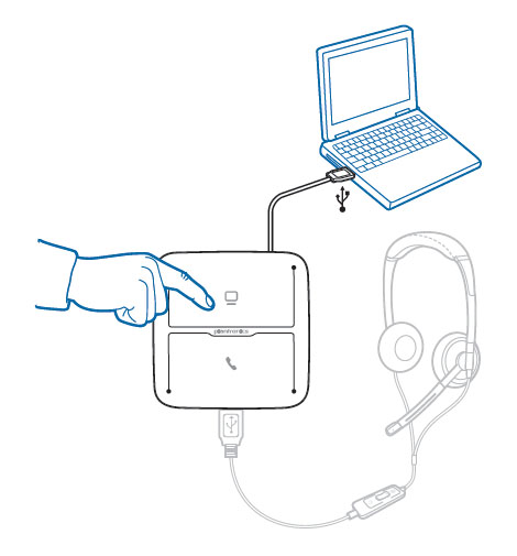 Image of how to set up the MDA200 for use with a corded headset on a computer