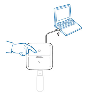 Image of how to set up the MDA200 for use with a wireless headset and adapter on a computer