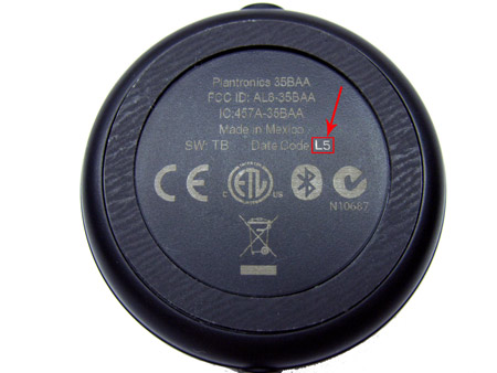 Location of the Date Code on the Pulsar universal adapter