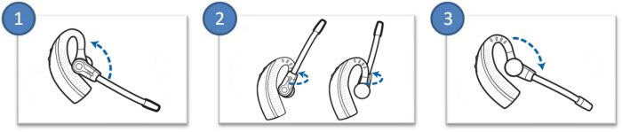 Image of how to wear the Savi 430 headset on your other ear