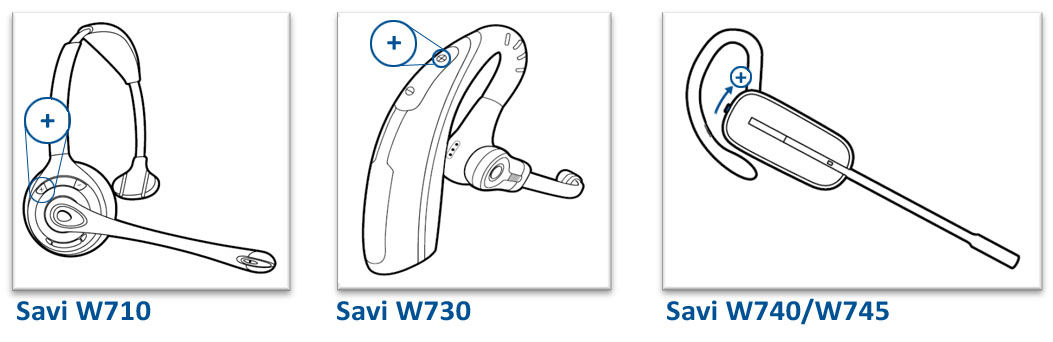 Image of the volume button location on the Savi 700 series headsets