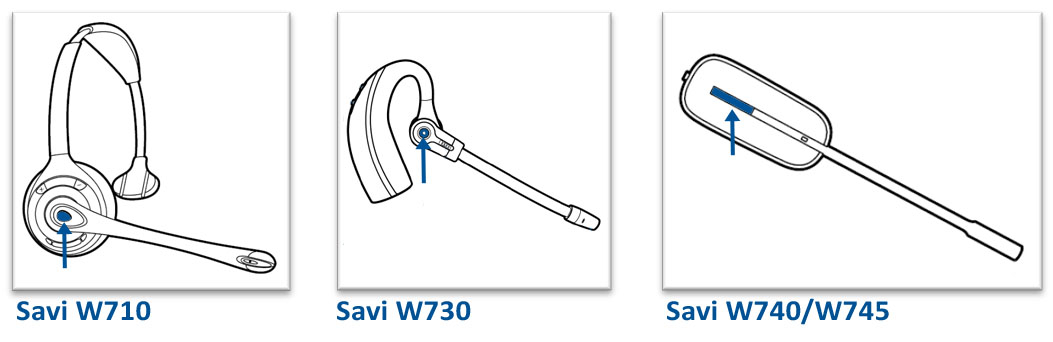 Image of the call control button on the Savi 700 Series headsets