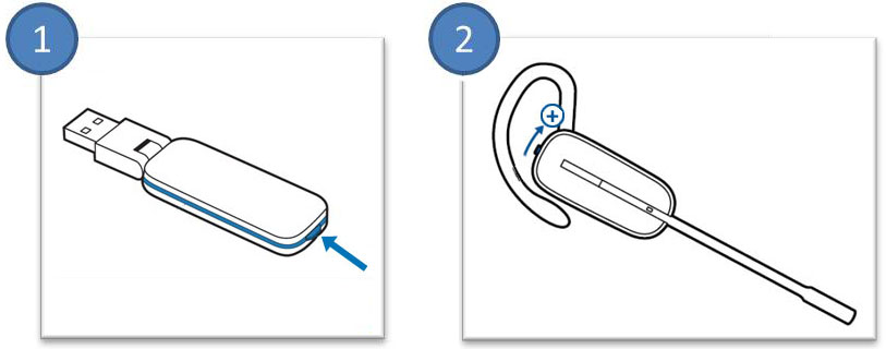 Image of how to subscribe the Savi W430 headset to its USB Adapter