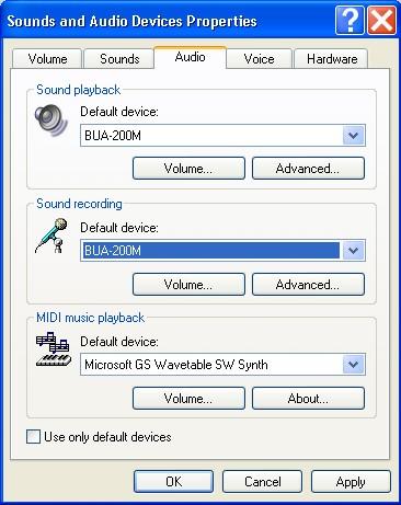 Image of the Sound Recording Default Device option (Windows XP)