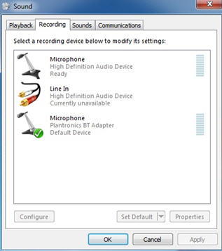 Image of the Recording tab of the Sound properties (Windows Vista)
