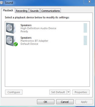 Image of the Playback tab of the Sound properties (Windows Vista)